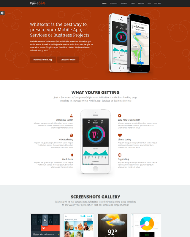 Whitestar Responsive Html5 Landing Page Template Preview